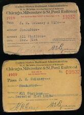 Chicago Milwaukee & St Paul Railroad Train Antique Vtg Conductor 2 Pass Lot 1919