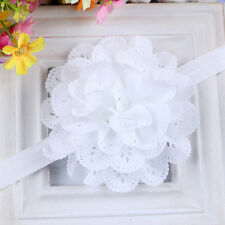 Newborn Baby Girl Lace Flower Headband Elastic Hair Band Kid Soft Headwear White