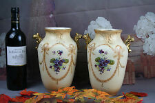 Pair antique S.F & Co Royal Essex England Stoke-On-Trent porcelain floral decor