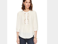 Kate Spade embroidered Inset Top in Cream, NWT, Med., orig$298 ALL SILK