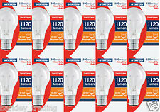 10 X 100W Watt GLS Clear Light Bulb BC Bayonet Cap B22 Dimmable Long Life Lamp