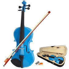 New 1/8 Size Kid Dark Blue Acoustic Violin Fiddle with Case Row Rosin Kit
