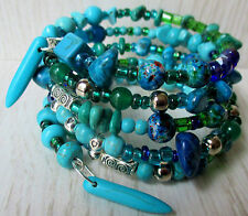 turquoise wrap bracelet memory wire beaded blue green gems tribal boho womens