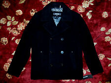 $695 Kenneth Cole Reaction Men Black Peacoat Jacket Size Small S Authentic Coat