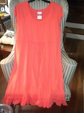 NWT FRESH PRODUCE COTTON  S/S SUNSHINE STYLE DRESS  IN SOLID RED CORAL...(XL)