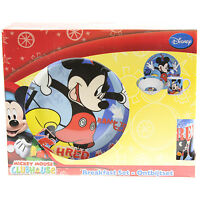 DISNEY MICKEY MOUSE 3 PIECE KIDS DINNER BREAKFAST SET CERAMIC PLATE MUG AND BOWL