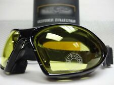 MOTORCYCLE ATV Day Night RIDING PADDED YELLOW LENS GLASSES GOGGLES Black Frame