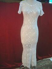 VINTAGE 1930'S 30'S WHITE CROCHET IRISH CROCHET FISHTAIL WEDDING DRESS S M