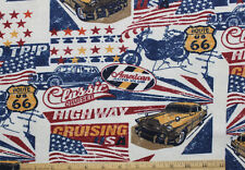 FLANNEL *CLASSIC CAR / MOTORCYCLE* CRUISE ROUTE 66 100% Cotton Fabric NEW * BTY