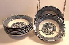 """SET of 9 ROYAL CHINA Currier & Ives 5 5/8"""" BERRY BOWLS OLD FARM GATE BLUE DECOR"""