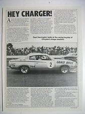 HEY CHARGER! THE RACING HEYDAY HISTORY 3 PAGE MAGAZINE FEATURE ARTICLE