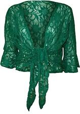 NEW LADIES PLUS SIZE TIE UP 3/4 FLARED SLEEVE SHRUG LACE SEQUIN BOLERO TOP 12-26
