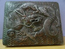 vtg antique silver plated copper metal dragon trinket box oriental chinese cover