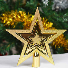Christmas Gold Star Tree Topper Ornament Festival Home Party Holiday Decoration