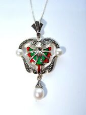 Art Nouveau Style Silver Pearl & Marcasite Green & Red Enamel Pendant Necklace