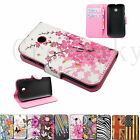 Flip Wallet Stand Flower Series Leather Phone Cover Case Fit For Motorola Moto E