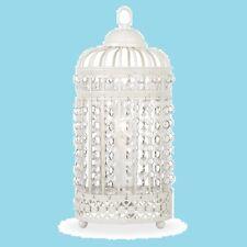 VINTAGE STYLE ACRYLIC CRYSTAL SHABBY CHIC BIRDCAGE LAMP IVORY CREAM