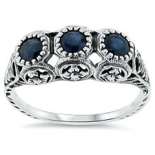GENUINE SAPPHIRE ANTIQUE STYLE .925 STERLING SILVER FILIGREE RING SIZE 6, #116