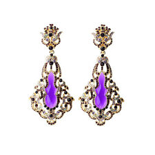 Boucles d`Oreilles Clips Doré Pendant Art Deco Lace Fin Violet Goutte Baroque J4