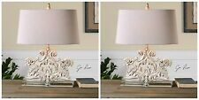 TWO CRYSTAL BASE STONE IVORY WASH TABLE LAMP OLD WORLD CARVED STYLE DESK LIGHT