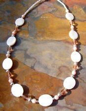 Short Handmade Necklace Pink and White Mother of Pearl w/ Czech Glass and Silver