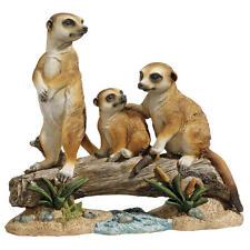 Meerkat Family Perched on Log Garden Sculpture Outdoor Statue
