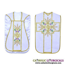 White Fiddleback Chasuble Mass Vestment Set + Veil, Maniple, Stole, Burse
