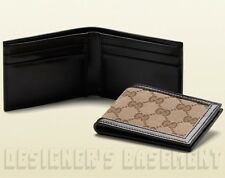 GUCCI Mens Narrow beige Original GG canvas Espresso leather wallet NIB Authentic