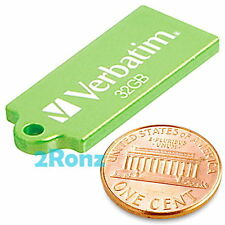 Verbatim Micro 32GB 32G USB Flash Drive Disk Stick Memory Wallet Store Green