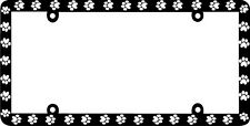Thin Frame BLACK PAW PRINTS CRITTER DOG CAT License Plate Frame