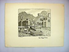 "1930-40's C. Palmer Ink & Wash Drawing ""Village Pump"", New England"