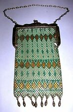 ANTIQUE MANDALIAN MFG CO GREEN & GOLD ENAMELED MESH DECO PURSE 1920'S FLAPPER- C