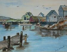 CATHY WILLIAMS BOAT DOCK WATER FRONT COLOR PAINTING JACK FISH HARBOR ONTARIO VTG