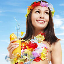 10Pcs Hawaiian Tropical Beach Theme Luau Party Flower Lei Leis Necklace Garland