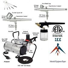 Air Brush Set Tattoo Dual-Action New Nail Art 3 Airbrush and Compressor Kit