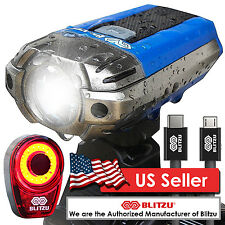 Blitzu Gator PRO USB Rechargeable Bike Head Light Set w/ Free Bicycle Tail Light