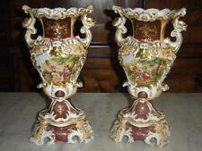 Magnifique paire De Vases En Vieux Paris Double Faces d'épo Vers 1830