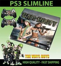 PLAYSTATION PS3 SLIM CALL OF BOOTY ARMY GIRLS 01 STICKER SKIN & 2 PAD SKINS