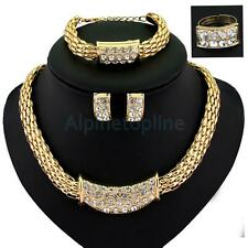 Rhinestone 18K Gold Plated Bridal Necklace Earring Bracelet Ring Jewelry Set