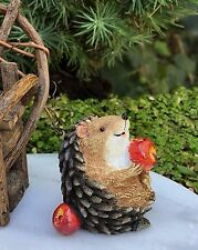 Miniature Dollhouse FAIRY GARDEN ~ Mini Hedgehog Figurine Feet Up w Apple ~ NEW