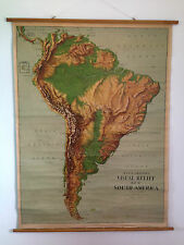 Antiguo W & AK Johnston & GW tocino Ltd visual alivio Escuela mapa de América del Sur