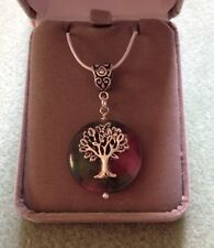 Sterling Silver Tree Of Life 24mm African Jade Gemstone Pendant  Necklace