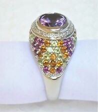 Chuck Clemency 925 Sterling Silver Ring Amethyst Citrine Topaz NYCII STS Sz 9