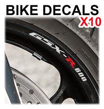 10X SUZUKI GSXR 600 MOTORCYCLE BIKE WHEEL STICKERS DECALS TAPE RIMS