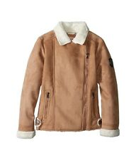 NEW Girls 6X Urban Republic Faux Sherling JACKET COAT Faux Suede Leather Brown!