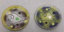 2 Signed Fousek Enamel on Copper Small Dishes