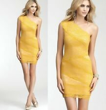 NWT Bebe lace Dress One off Shoulder Mixed Lace yellow bodycon top XS 0 2 sexy