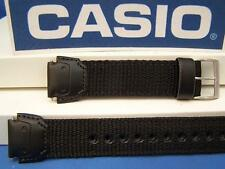 Casio Watch Band W-756 B-1 and W-53 Black Leather/Nylon 18mm Strap w/Pins