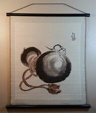 Vintage Asian Wall Tapestry Scroll Mouse / Rat Picture