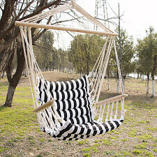 Hammock Hanging Rope Chair Porch Swing Seat Patio Camping Portable White Stripe